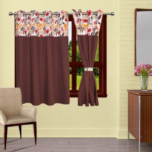 Buy Lushomes Leaf Bloomberg Curtains With 8 Eyelets & Tiebacks For Window online