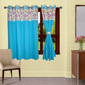Buy Lushomes Flower Bloomberg Curtains With 8 Eyelets & Tiebacks For Window online