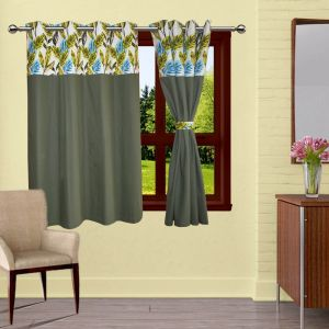 Buy Lushomes Forest Bloomberg Curtains With 8 Eyelets & Tiebacks For Window online