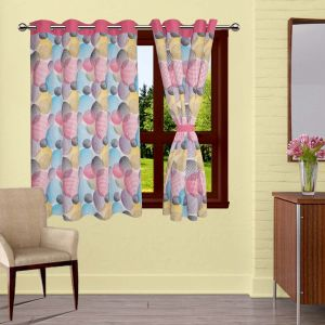 Buy Lushomes Circles Printed Curtains With 8 Eyelets & Tiebacks For Window online