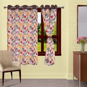 Buy Lushomes Leaf Printed Curtains With 8 Eyelets & Tiebacks For Window online