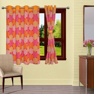 Buy Lushomes Spiral Printed Curtains With 8 Eyelets & Tiebacks For Window online