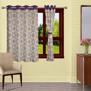 Buy Lushomes Bold Printed Curtains With 8 Eyelets & Tiebacks For Window online