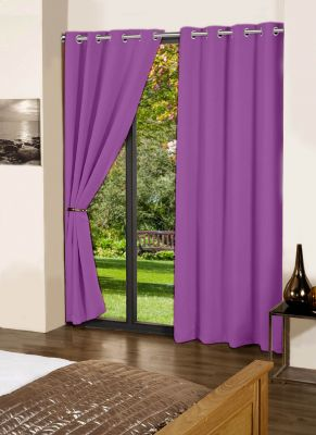 Buy Lushomes Royal Lilac Plain Cotton Curtains With 8 Eyelets For Door online