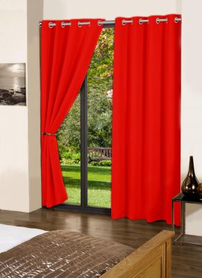 Buy Lushomes Tomato Plain Cotton Curtains With 8 Eyelets For Door online