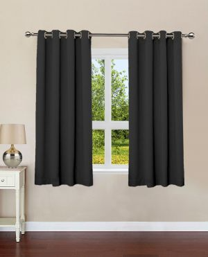 Buy Lushomes Pirate Black Plain Cotton Curtains With 8 Eyelets For Windows online