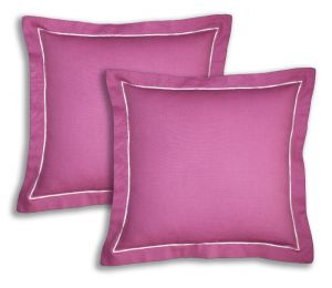 Buy Lushomes Cotton Half Panama Bordeaux Cushion Covers (pack Of 2) online