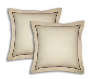 Buy Lushomes Cotton Half Panama Ecru Cushion Covers (pack Of 2) online