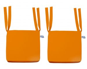 Buy Lushomes Cotton Sun Orange Chair Pads With 4 Strings And Foam Filling online