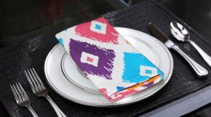 Buy Lushomes Square Printed Cotton 6 Table Napkins Set online