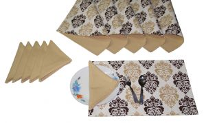 Buy Lushomes Earth Print 6 Reversible Cotton Mats & 6 Plain Cotton Napkins online