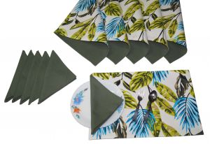 Buy Lushomes Forest Print 6 Reversible Cotton Mats & 6 Plain Cotton Napkins online