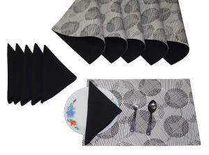 Buy Lushomes Geometric Print 6 Reversible Cotton Mats; 6 Plain Cotton Napkins online