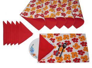 Buy Lushomes Basic Print 6 Reversible Cotton Mats & 6 Plain Cotton Napkins online