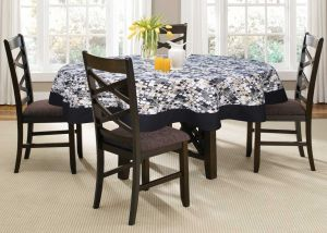 Buy Lushomes 6 Seater Coins Printed Round Table Cloth online