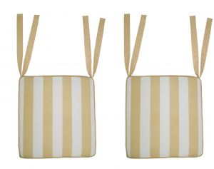 Buy Lushomes Beige Square Striped Chairpad with Top Zipper and 4 Strings online