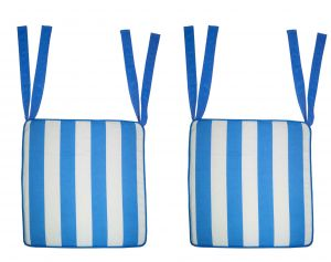 Buy Lushomes Blue Square Striped Chairpad with Top Zipper and 4 Strings online