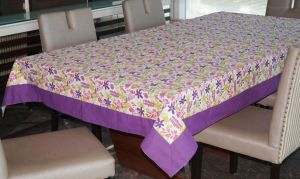 Buy Lushomes 4 Seater Purple Printed Table Cloth online