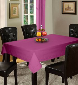 Buy Lushomes Plain Bordeaux Holestitch 12 Seater Purple Table Cover online