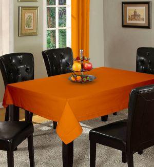 Buy Lushomes Plain Sun Orange Holestitch 4 Seater Orange Table Cover online