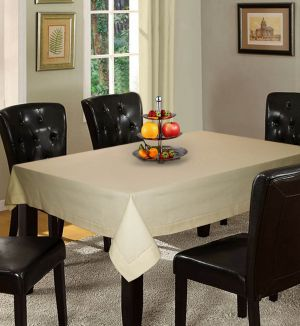 Buy Lushomes Plain Ecru Holestitch 6 Seater Beige Table Cover online