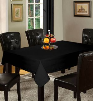 Buy Lushomes Plain Pirate Black Holestitch 6 Seater Black Table Cover online