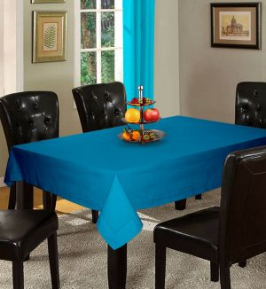 Buy Lushomes Plain Bachelor Button Holestitch 6 Seater Blue Table Cover online