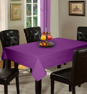 Buy Lushomes Plain Royal Lilac Holestitch 6 Seater Purple Table Cover online