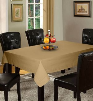 Buy Lushomes Plain Sand Holestitch 6 Seater Beige Table Cover online