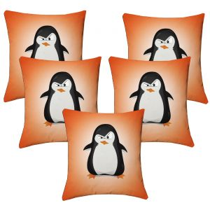 Buy Lushomes Kids Digital Print Pingu Cushion Covers (pack Of 5) online