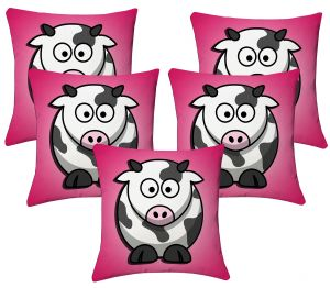Buy Lushomes Kids Digital Print Cow Cushion Covers (pack Of 5) online