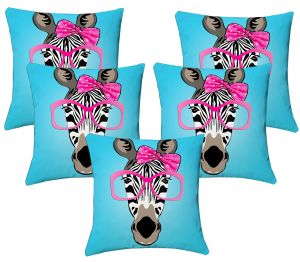 Buy Lushomes Kids Digital Print Zebra Cushion Covers (pack Of 5) online