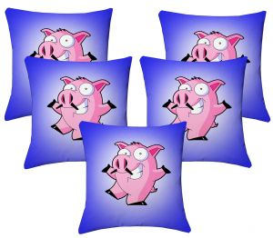 Buy Lushomes Kids Digital Print Pig Cushion Covers (pack Of 5) online