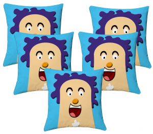Buy Lushomes Kids Digital Print Laughter Cushion Covers (pack Of 5) online
