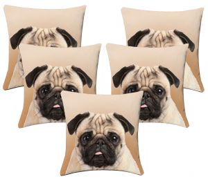 Buy Lushomes Kids Digital Print Bulldog Cushion Covers (pack Of 5) online