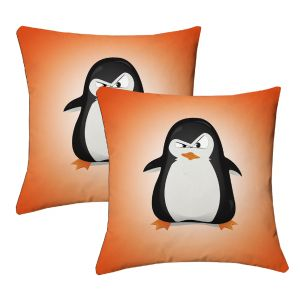 Buy Lushomes Kids Digital Print Pingu Cushion Covers (pack Of 2) online