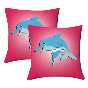 Buy Lushomes Kids Digital Print Dolphins Cushion Covers (pack Of 2) online