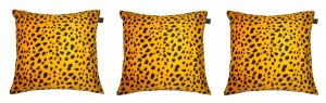 Buy Lushomes Golden Yellow Leopard Skin Printed Cushion Covers (pack Of 3) online