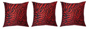 Buy Lushomes Red Zebra Skin Printed Cushion Covers (pack Of 3) online