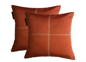 Buy Lushomes Maroon Blackout Cushion Cover With Artistic Stitch online