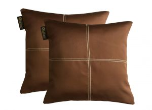 Buy Lushomes Dark Brown Blackout Cushion Cover With Artistic Stitch online