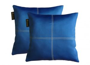Buy Lushomes Fire Blue Blackout Cushion Cover With Artistic Stitch online