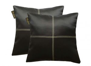 Buy Lushomes Black Blackout Cushion Cover With Artistic Stitch online