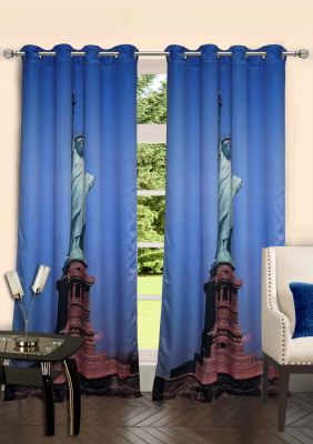 Buy Lushomes Digitally Printed Statue Of Liberty Polyster Door Curtains online