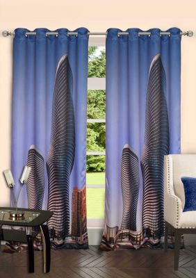 Buy Lushomes Digitally Printed Two Buildings Polyster Door Curtains online