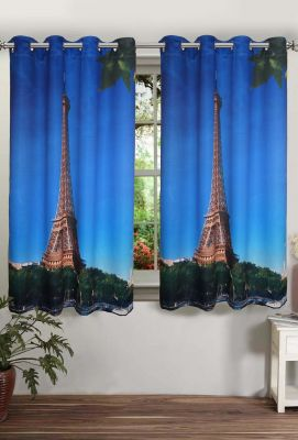 Buy Lushomes Printed Eiffel Tower Polyster Curtains With Eyelets For Windows online