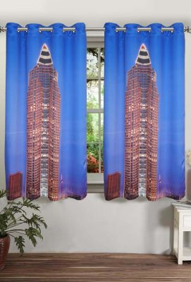 Buy Lushomes Printed Frankfurt Polyster Curtains With Eyelets For Windows online
