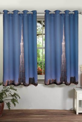 Buy Lushomes Printed Khalifa Polyster Curtains With Eyelets For Windows online