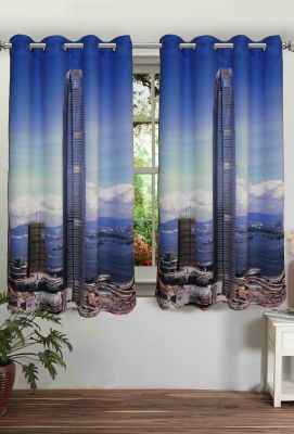 Buy Lushomes Printed Skyscraper Polyster Curtains With Eyelets For Windows online