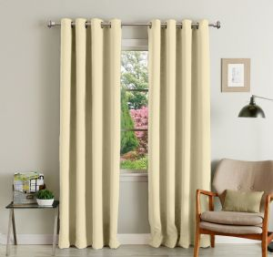 Buy Lushomes Off White Polyester Blackout Curtains With 8 Eyelets For Door online